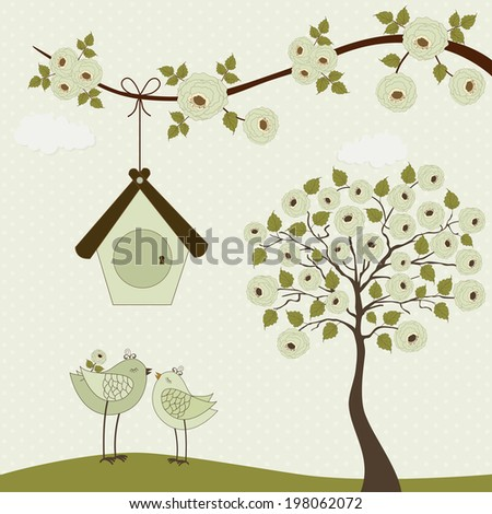Cute birds with birdhouse and roses tree on polka dots background - stock vector