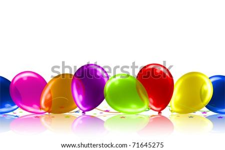 Cute Birthday Balloon Floor Vector - stock vector
