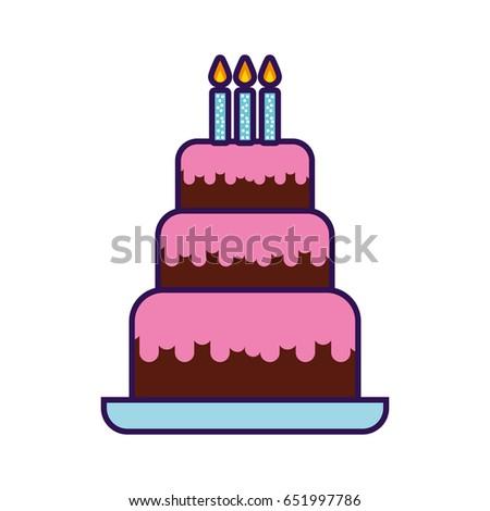 Black White Outlined Illustration Birthday Cake Stock Vector