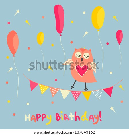 Cute birthday card design with funny owl bright flags, stars and balloons. Vector illustration.  - stock vector