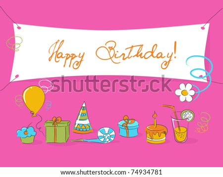 Cute birthday card space your message stock vector 74934781 cute birthday card with space for your message bookmarktalkfo Images
