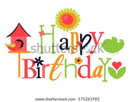 Cute birthday greeting - stock vector
