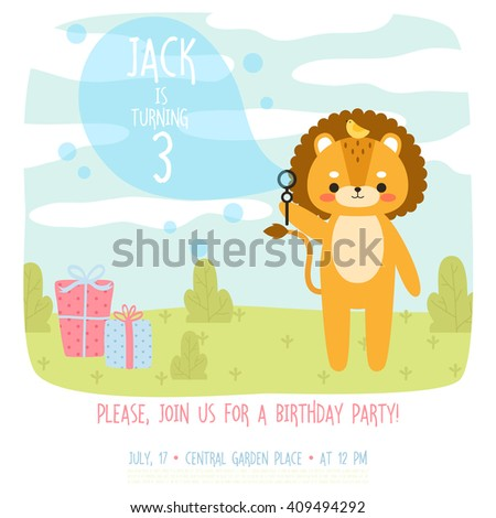Cute Birthday Invitation Template With Cartoon Baby Lion With Bird And  Presents On Grass Background.  Birthday Invitation Backgrounds