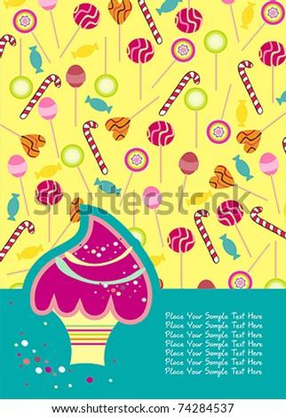 cute birthday invitations - stock vector
