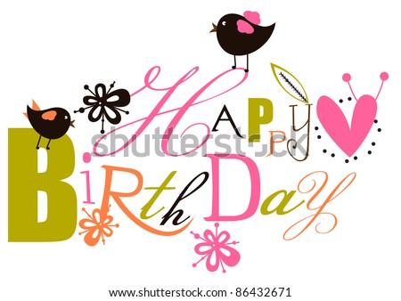 Cute Birthday Script Card - stock vector