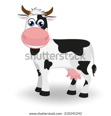 Cute black and white cow   - stock vector
