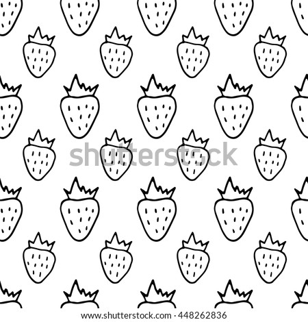 Cute black and white seamless pattern with hand drawn ink strawberries. Sweet vector summer background. - stock vector