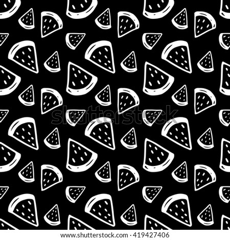 Cute black and white seamless pattern with hand drawn watermelons. Lovely vector background. - stock vector
