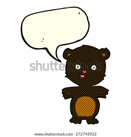 cute black bear cartoon with speech bubble - stock vector