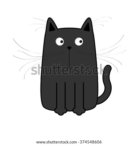 Cute black cartoon cat. Big mustache whisker. Funny character. Flat design. White background. Isolated. Vector illustration - stock vector