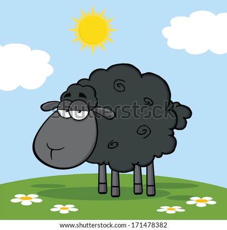 Cute Black Sheep On A Meadow. Vector Illustration - stock vector