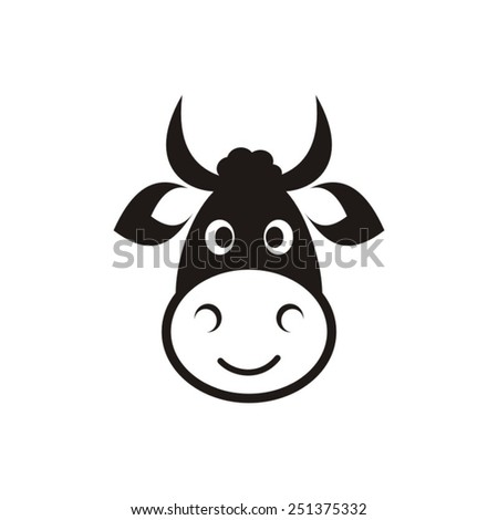 Cute black vector cow head icon on white - stock vector