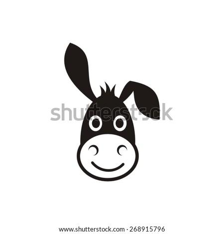 Cute black vector donkey head icon on white - stock vector