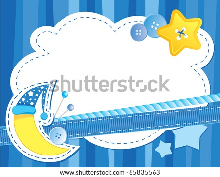 cute blue background with moon and stars - stock vector