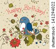 Cute Blue Bird Birthday Card. Greeting card. Template design can be used for packaging,invitations, birthday decoration, bag template, print for mag cup or plate and etc. - stock vector