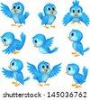 Cute blue bird cartoon - stock vector