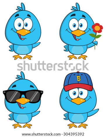 Cute Blue Bird Cartoon Character 2. Vector Collection Set - stock vector