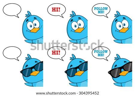 Cute Blue Bird Cartoon Character 10. Vector Collection Set - stock vector