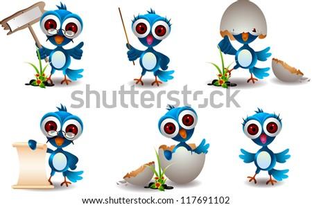 cute blue bird cartoon set - stock vector