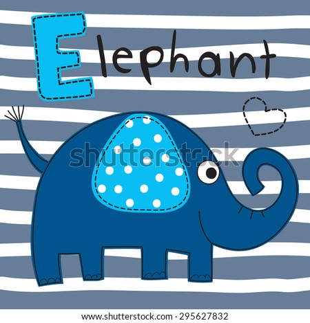 cute blue elephant vector illustration - stock vector