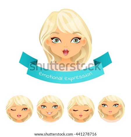 Cute blue eyed blonde with different facial expressions. Set of different emotion: smile, laugh, surprise. Cartoon girl with different expressions of emotion. Vector illustration isolate on white. - stock vector