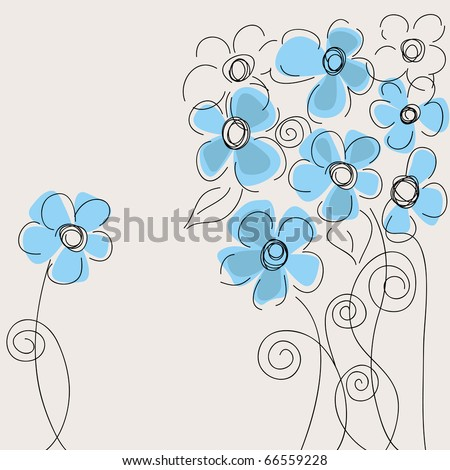 Cute blue flowers - stock vector