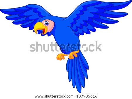 Cute blue parrot flying - stock vector