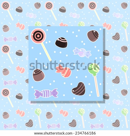 Cute blue seamless pattern with colorful sweets, chocolates and lollipops. Vector.  - stock vector