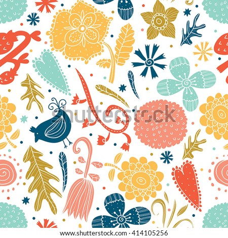 Cute blue seamless pattern with flowers and birds. Vintage and retro.