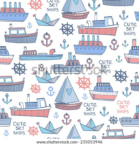Cute Boat pattern in vector - stock vector