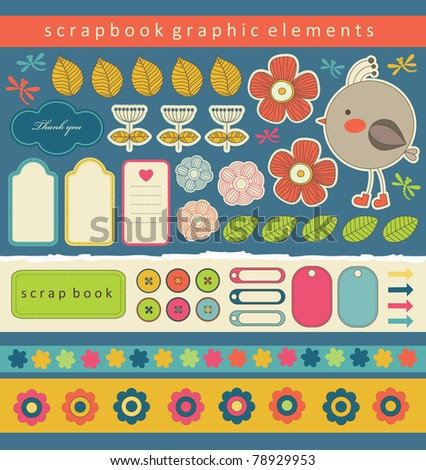 cute bookmarks for scrapbook. vector illustration - stock vector