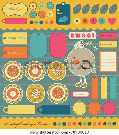 cute bookmarks for scrapbook. vector illustration