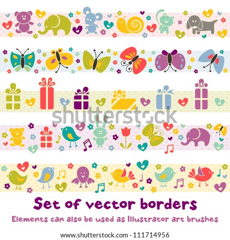 Cute borders with baby icons for your design. EPS 8 vector illustration.  Elements can also be used as Illustrator art brushes. - stock vector