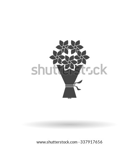 Cute bouquet of flowers. Icon Vector - stock vector