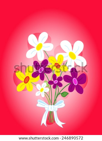 Cute bouquet of hand drawn daisy flowers card - stock vector