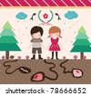 Cute Boy and Girl Design Elements. Happy Kids are Walking in Beautiful Forest - stock vector