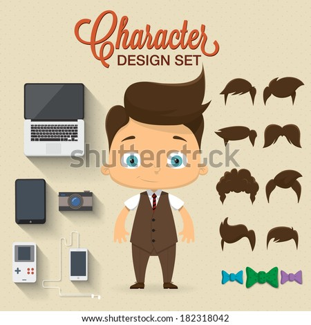 Cute boy character illustration with icons - stock vector