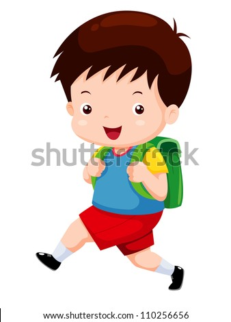 Cute boy go to school - stock vector