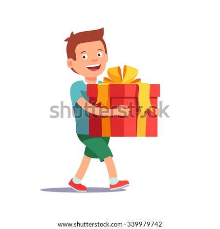 Cute boy holding big ribbon bow wrapped gift box in front of him in arms. Flat style vector illustration isolated on white background.