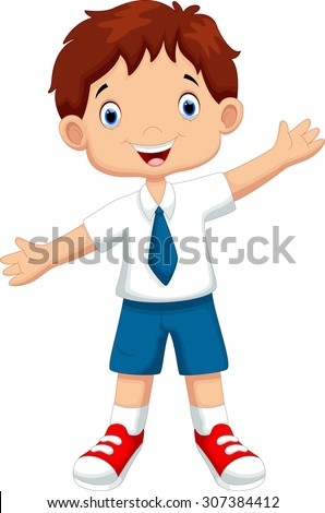 Cute boy in a school uniform - stock vector