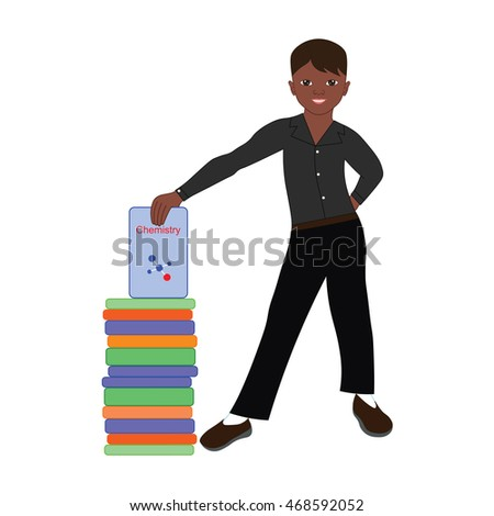 Cute boy in school uniform smiling and holding a book.