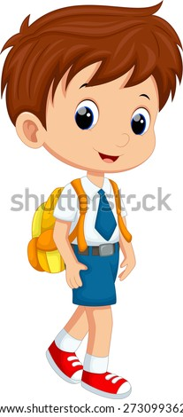 Cute boy in uniform going to school - stock vector