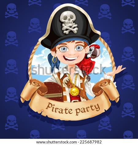 Cute boy pirate with red parrot. Banner for Pirate party - stock vector