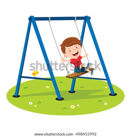 Girl On Swing Back And Forth Cartoon Picture For Kids