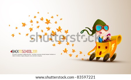 Cute Boy Racing his School Backpack Emitting Autumn Leafs| Back to School Series | Detailed vector illustration with space for text | All layers named accordingly - stock vector
