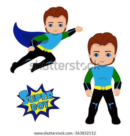 Cute Boy superhero in flight and in standing position.Vector illustration isolated on white background.