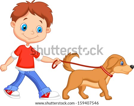 Cute boy walking with dog - stock vector
