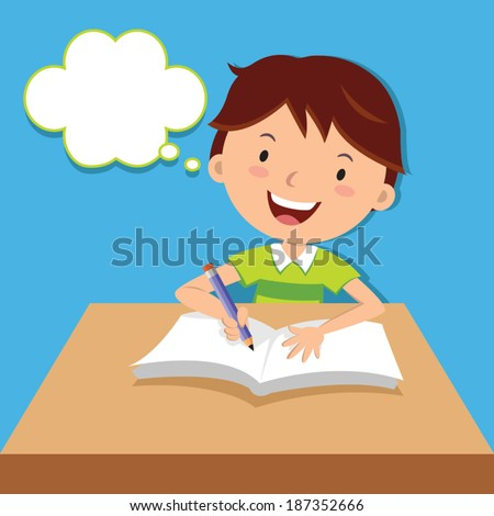 Cute boy writing at his desk. Vector illustration of a little boy writing and thinking. - stock vector