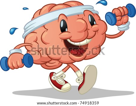 Cute brain exercising. Vector illustration with simple gradients. Character and shadow on separate layers for easy editing. - stock vector