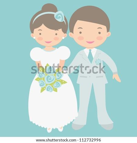 Cute bride and groom - stock vector